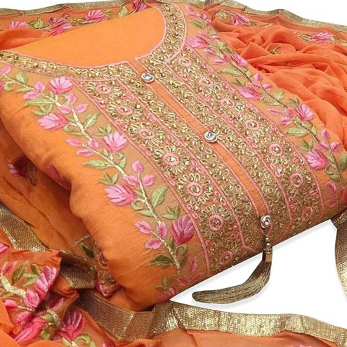 Intricate Orange Colored Party Wear Floral Embroidered Modal Dress Material