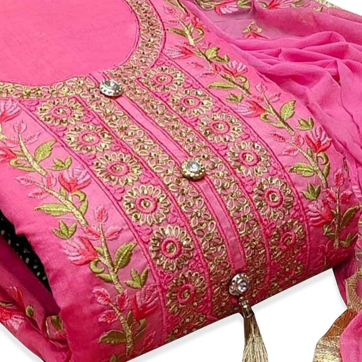 Arresting Pink Colored Party Wear Floral Embroidered Modal Dress Material