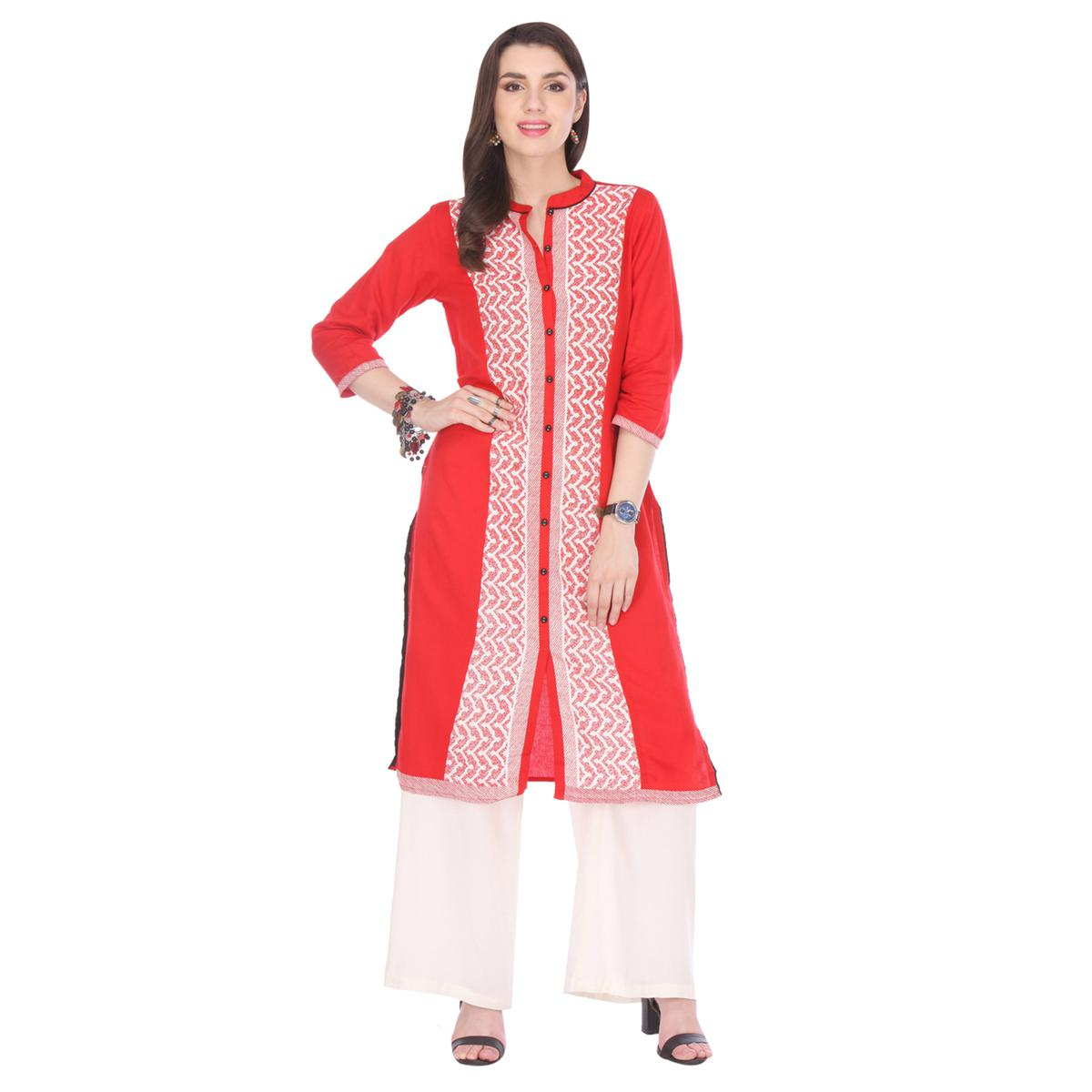 Red Button Placket Stitched Kurti