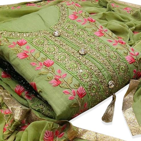 Desirable Green Colored Party Wear Floral Embroidered Modal Dress Material