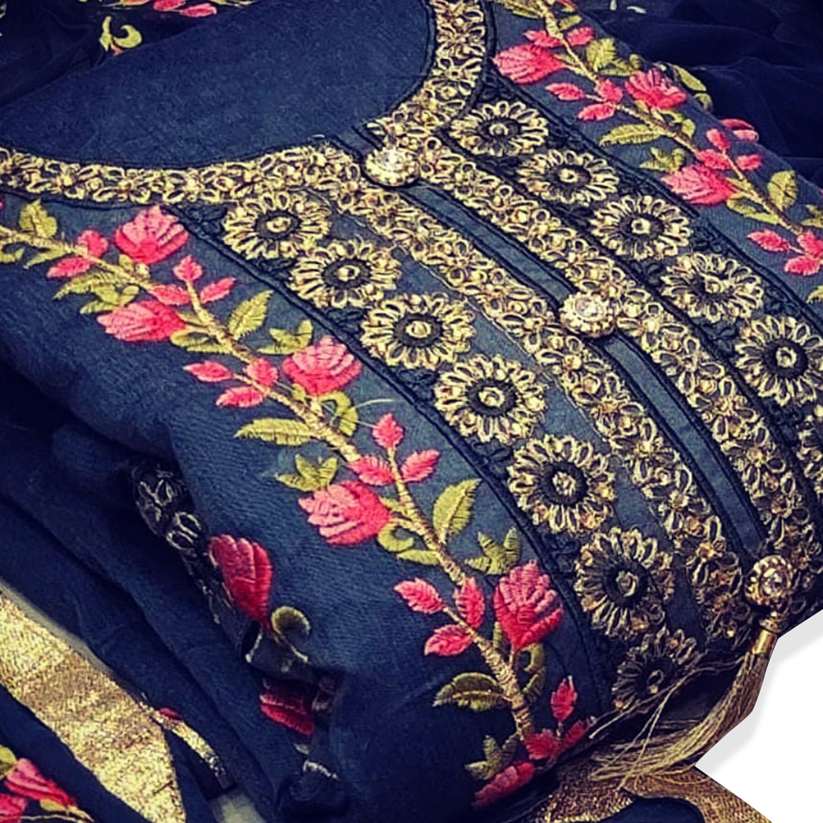 Exotic Blue Colored Party Wear Floral Embroidered Modal Dress Material