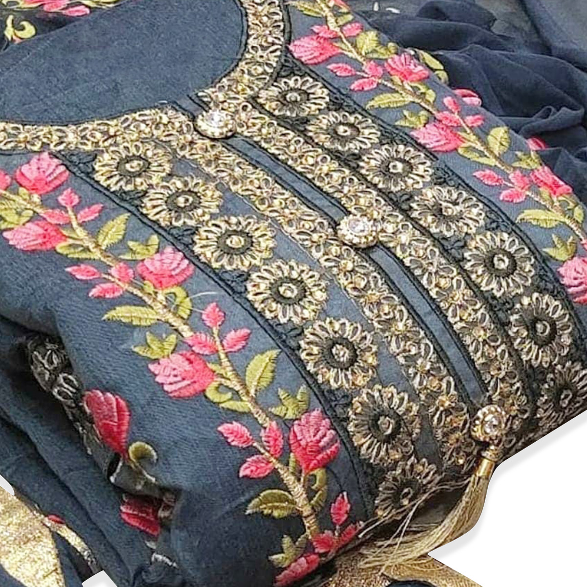 Trendy Grey Colored Party Wear Floral Embroidered Modal Dress Material