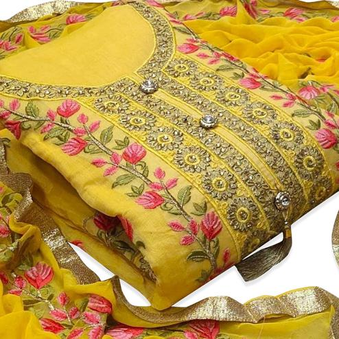 Elegant Yellow Colored Party Wear Floral Embroidered Modal Dress Material