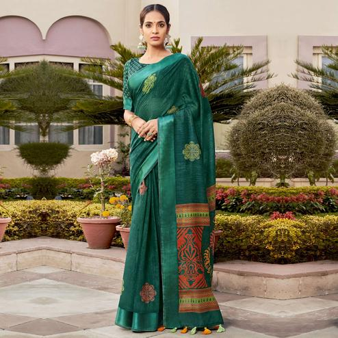 Adorable Green Colored Casual Wear Printed Cotton Saree With Tassels