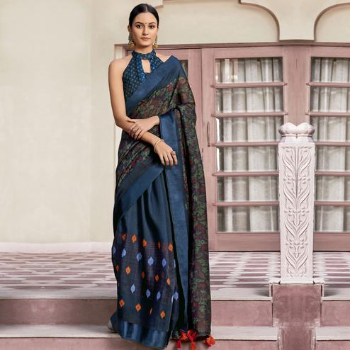 Glorious Blue Colored Casual Wear Printed Cotton Saree With Tassels