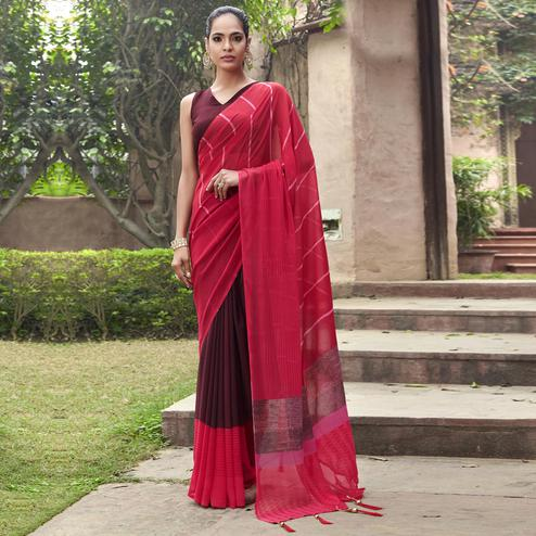 Blissful Red and Maroon Colored Casual Wear Printed Georgette Half & Half Saree