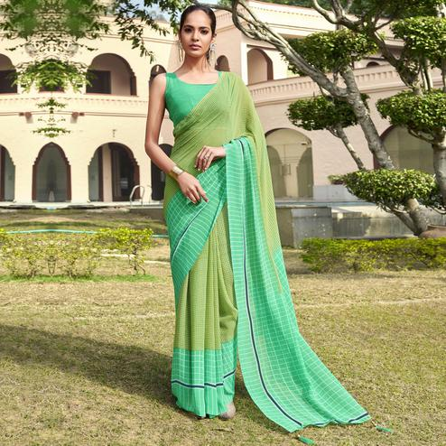 Ideal Green Colored Casual Wear Printed Georgette Saree