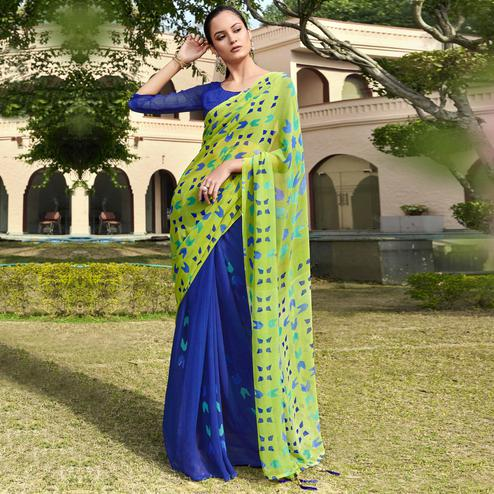 Imposing Blue and Green Colored Casual Wear Printed Georgette Half & Half Saree