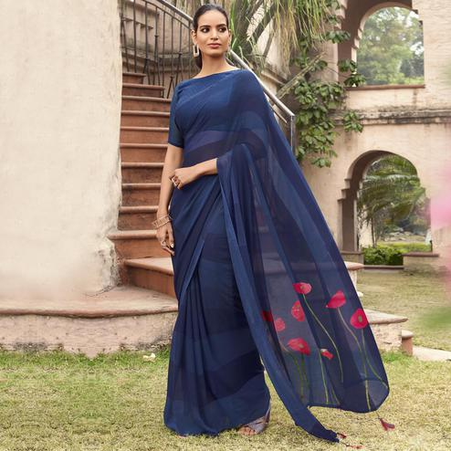 Opulent Navy Blue Colored Casual Wear Printed Georgette Saree