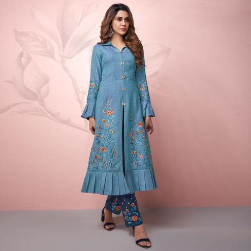 Desirable Sky Blue Colored Party Wear Embrodiered Rayon Kurti-Pant Set