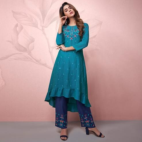 Adorable Blue Colored Party Wear Embrodiered Rayon Kurti-Pant Set