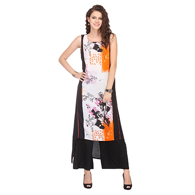 Black - White Printed High Low Kurti