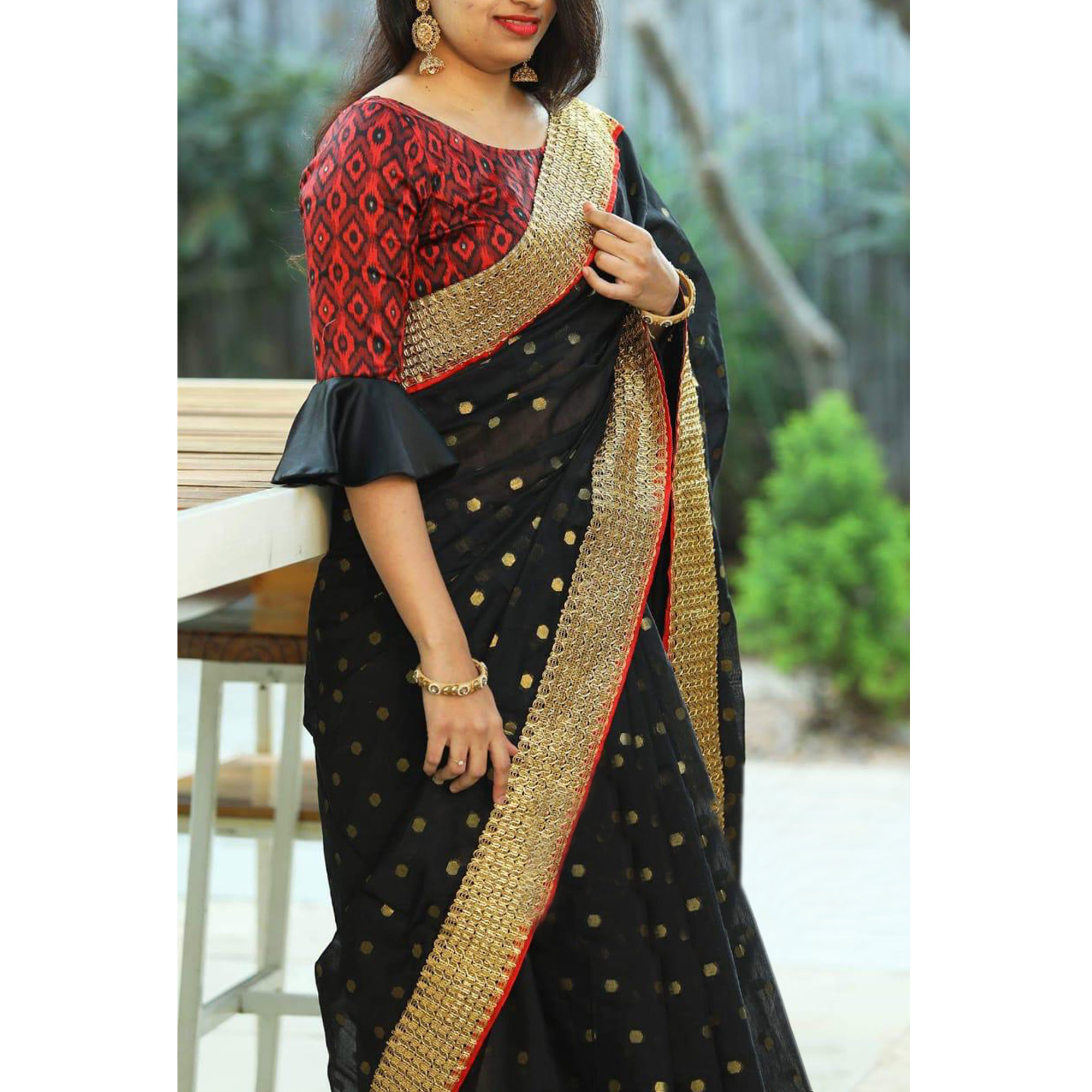 Elegant Black Colored Party Wear Embroidered Cotton Saree