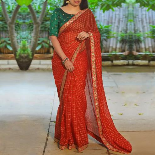 Adorning Red Colored Party Wear Embroiered Modal Cotton Saree