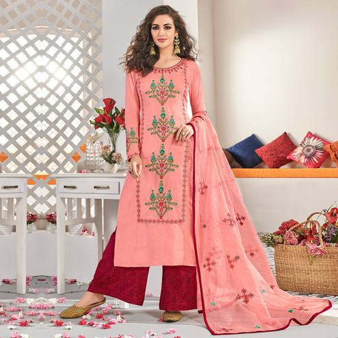 Hypnotic Pink Colored Partywear Floral Embroidered Cotton Kurti-Palazzo Set With Dupatta