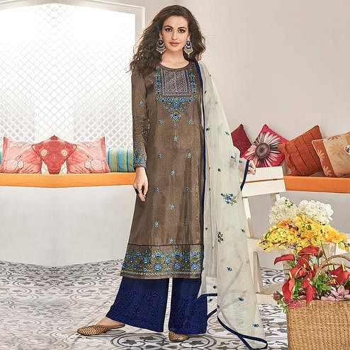 Flattering Grey Colored Partywear Floral Embroidered Cotton Kurti-Palazzo Set With Dupatta