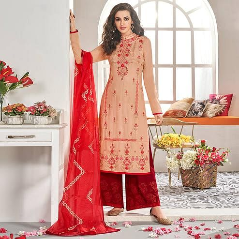 Preferable Peach Colored Partywear Floral Embroidered Cotton Kurti-Palazzo Set With Dupatta