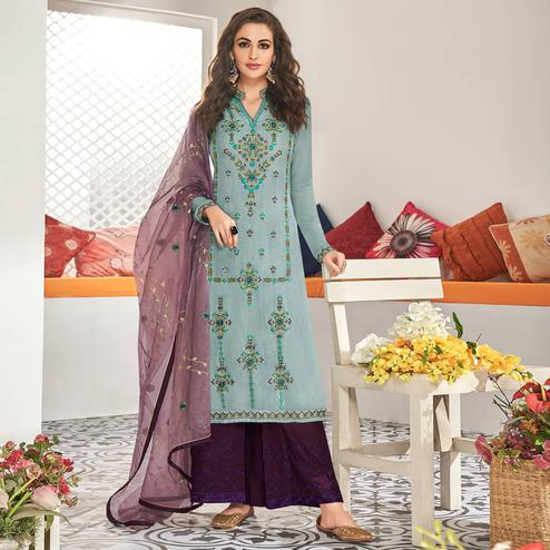 Marvellous Light Blue Colored Partywear Floral Embroidered Cotton Kurti-Palazzo Set With Dupatta