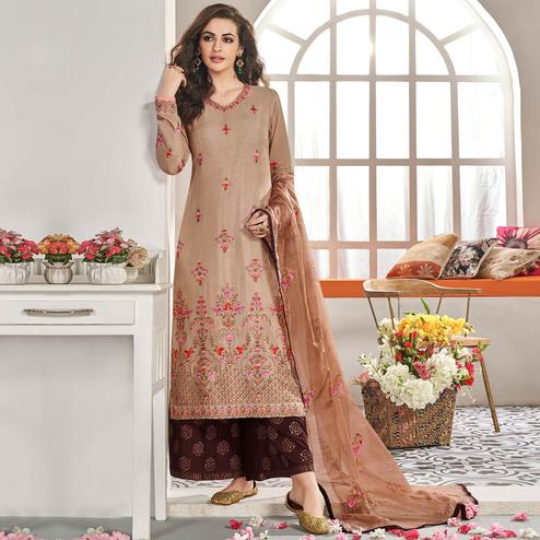 Flamboyant Brown Colored Partywear Floral Embroidered Cotton Kurti-Palazzo Set With Dupatta