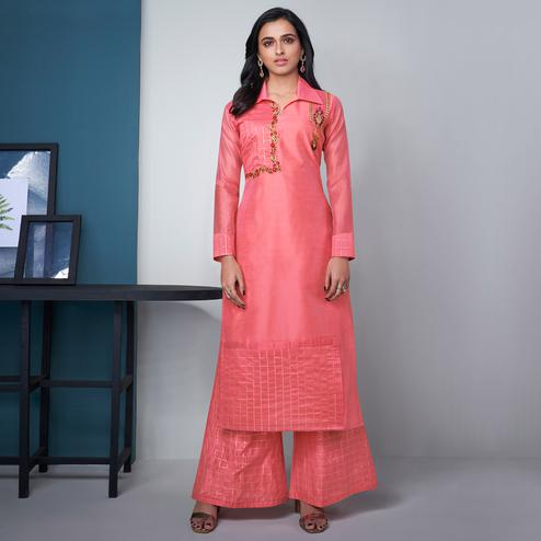 Arresting Pink Colored Party Wear Floral Embroidered Modal Silk Kurti-Palazzo Set