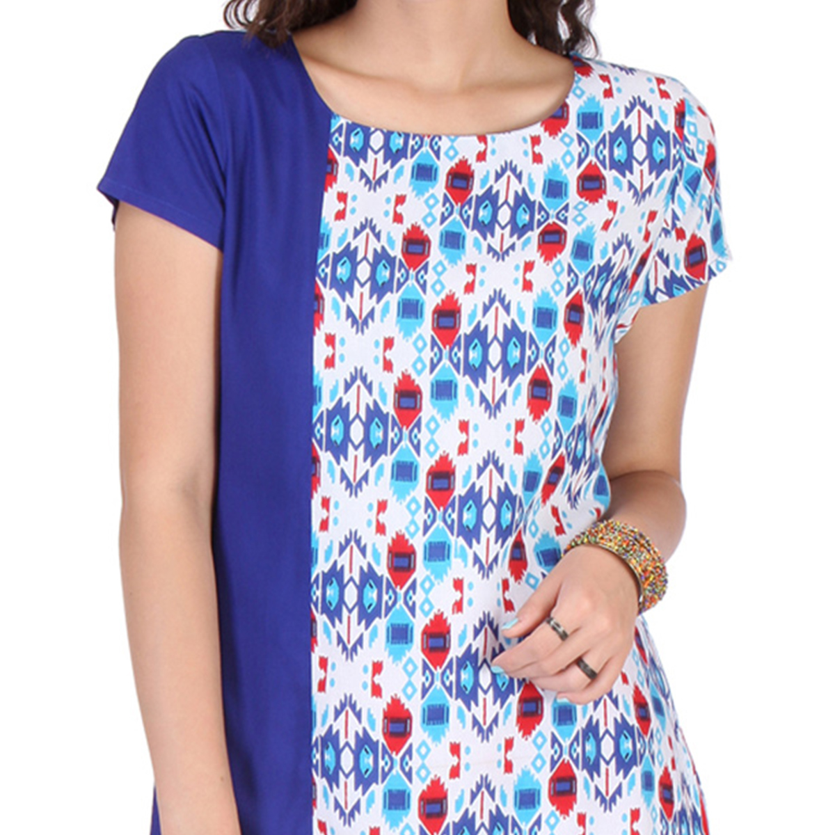 Royal Blue - White Short Sleeves Kurti
