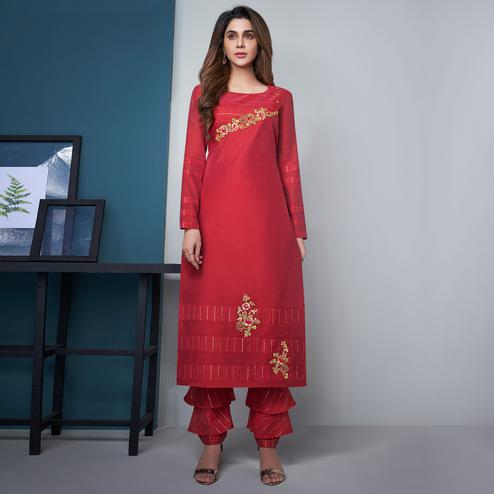 Desirable Red Colored Party Wear Floral Embroidered Modal Silk Kurti-Pant Set