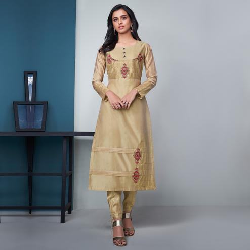 Exotic Beige Colored Party Wear Floral Embroidered Modal Silk Kurti-Pant Set