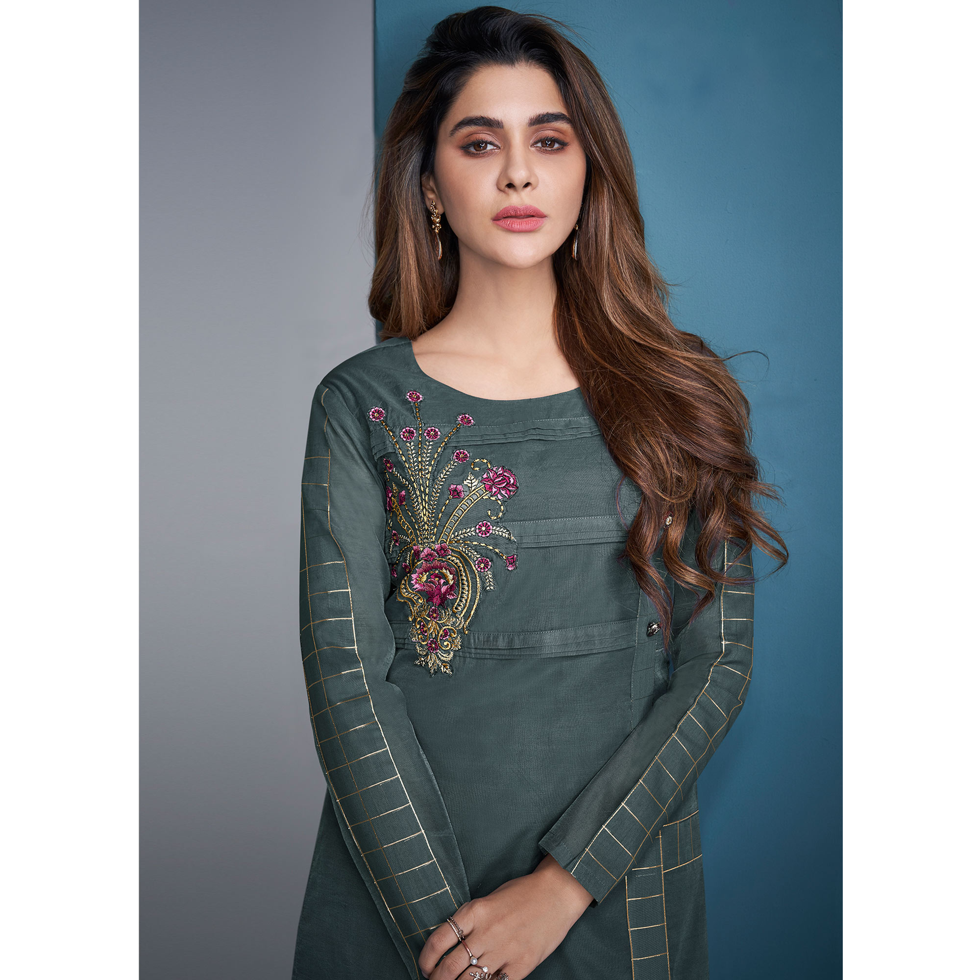 Trendy Grey Colored Party Wear Floral Embroidered Modal Silk Kurti-Pant Set