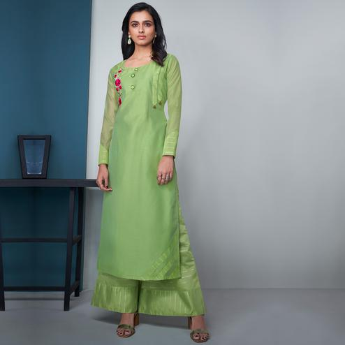Elegant Green Colored Party Wear Floral Embroidered Modal Silk Kurti-Palazzo Set