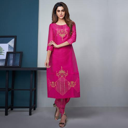 Intricate Rani Pink Colored Party Wear Floral Embroidered Modal Silk Kurti-Dhoti Set