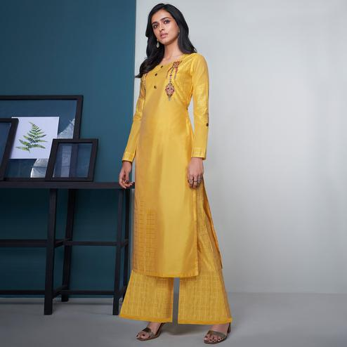 Radiant Yellow Colored Party Wear Floral Embroidered Modal Silk Kurti-Palazzo Set