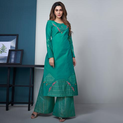 Pleasant Turquoise Green Colored Party Wear Floral Embroidered Modal Silk Kurti-Palazzo Set