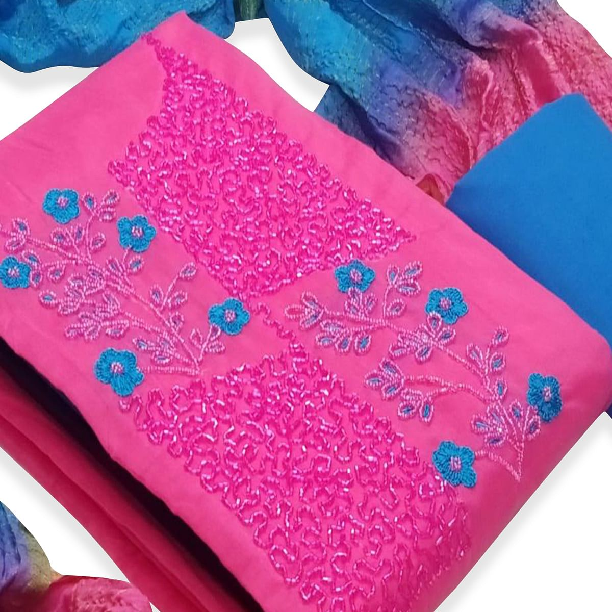 Glorious Pink Colored Partywear Embroidered Cotton Dress Material