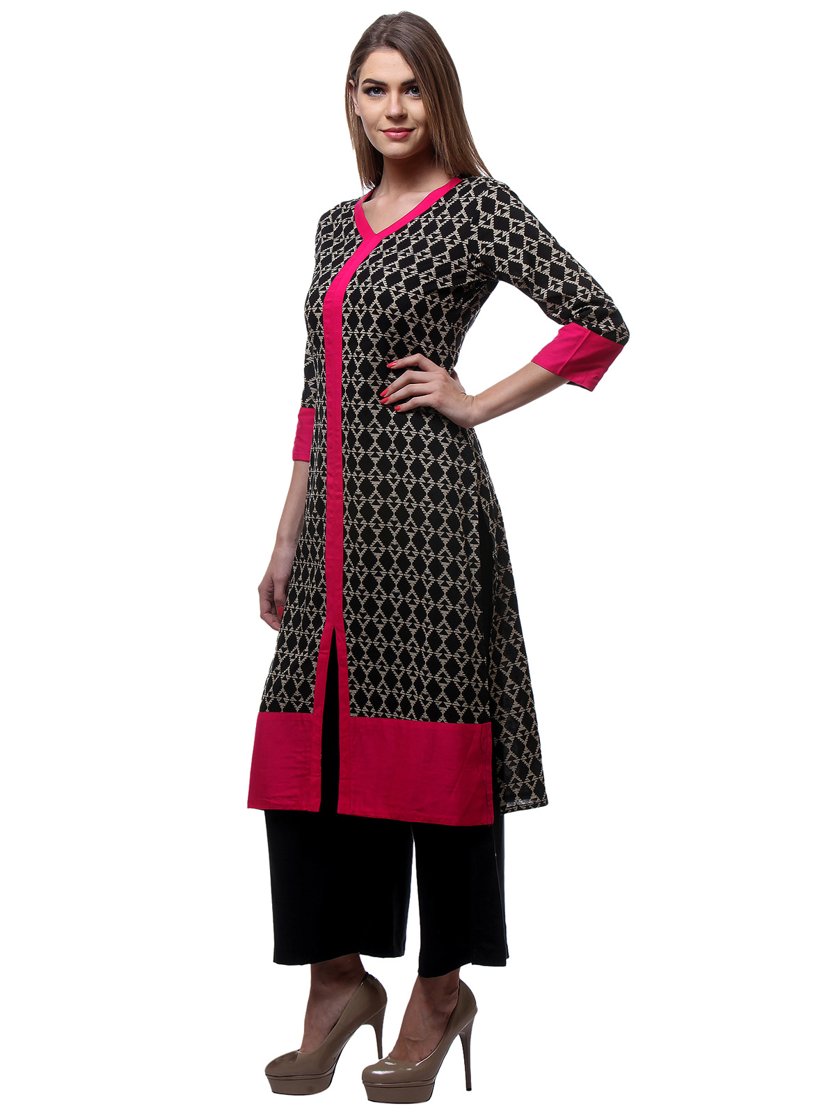 Black Casual Wear Stitched Kurti