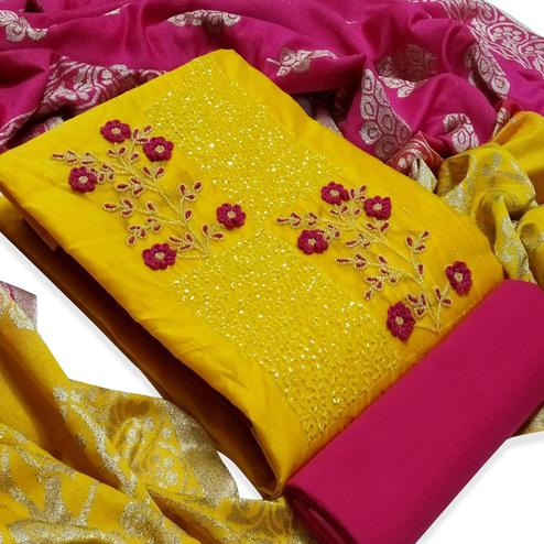 Blooming Yellow Colored Partywear Embroidered Cotton Dress Material