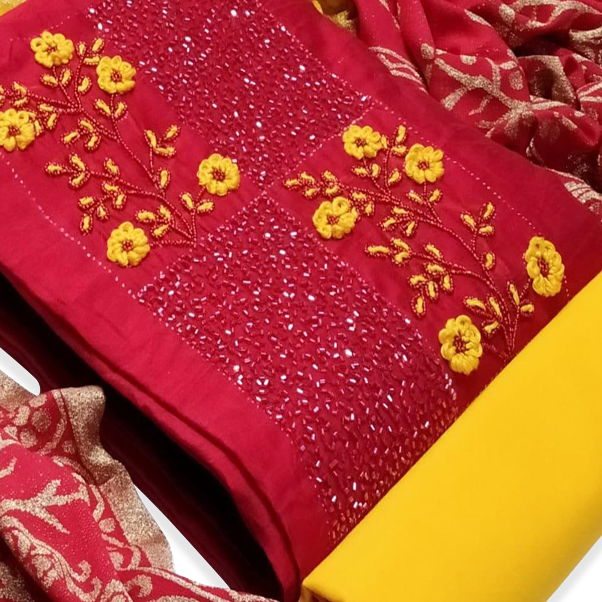 Charming Red Colored Partywear Embroidered Cotton Dress Material