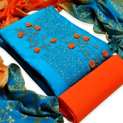 Jazzy Blue Colored Partywear Embroidered Cotton Dress Material