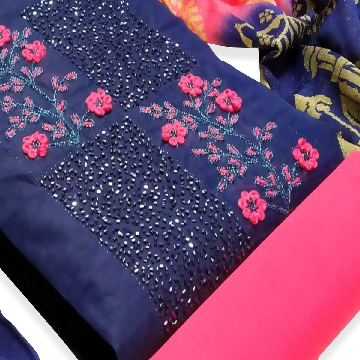Delightful Navy Blue Colored Partywear Embroidered Cotton Dress Material