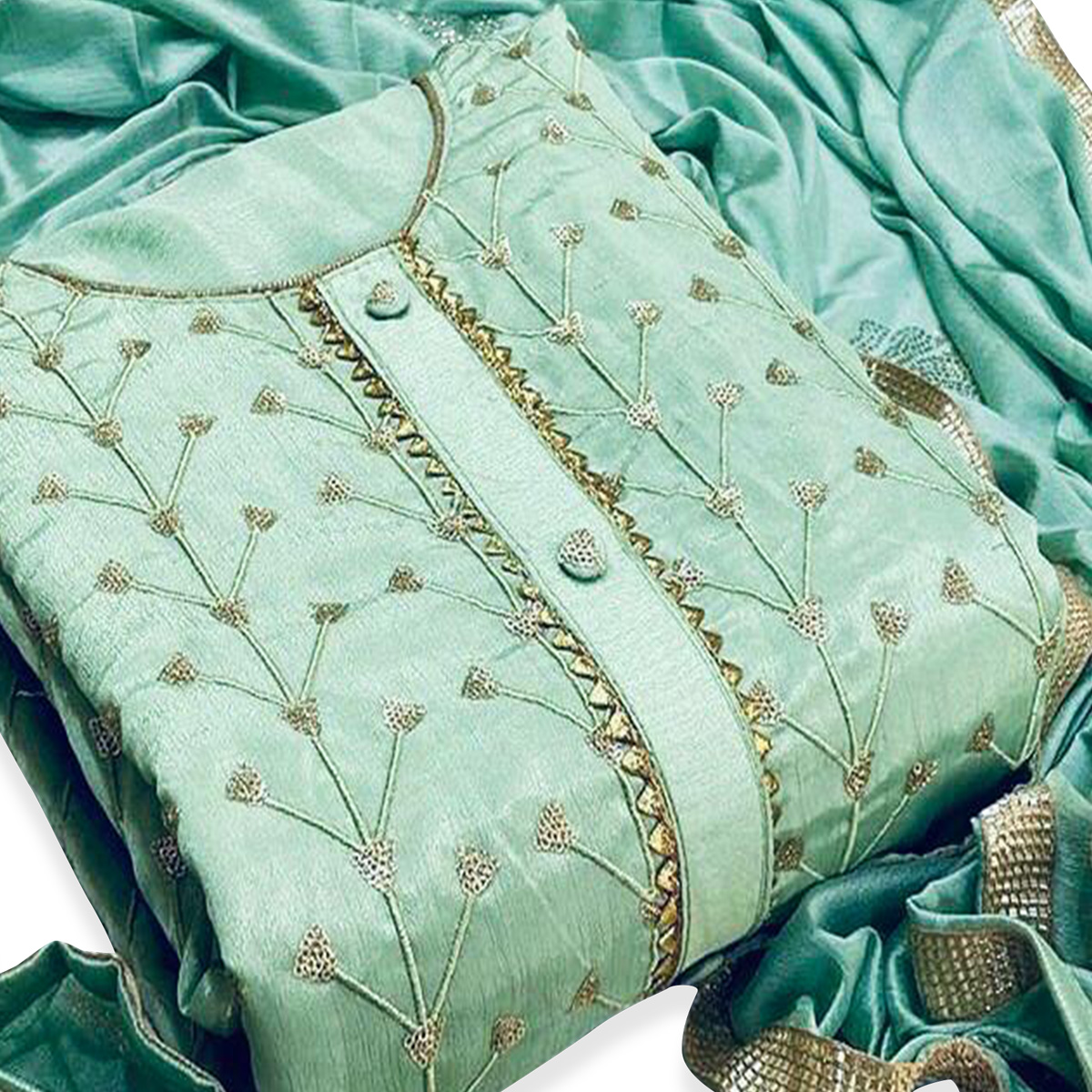 Engrossing Pastel Green Colored Partywear Embroidered Modal-Chanderi Dress Material