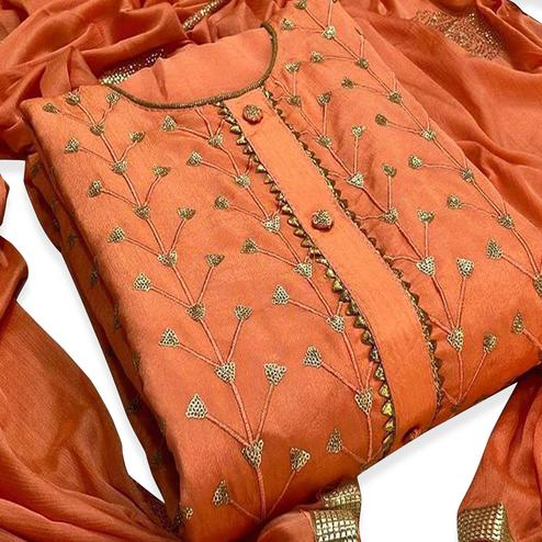 Captivating Orange Colored Partywear Embroidered Modal-Chanderi Dress Material