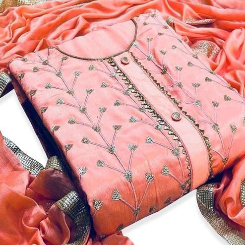 Innovative Peach Colored Partywear Embroidered Modal-Chanderi Dress Material