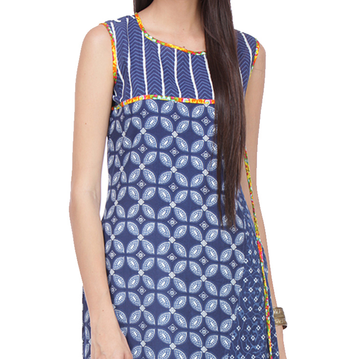 Navy Blue Cambric Stitched Kurti