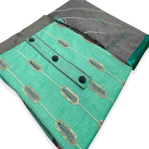 Amazing Aqua Green Colored Partywear Embroidered Modal-Chanderi Dress Material