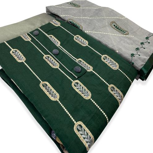 Blissful Dark Green Colored Partywear Embroidered Modal-Chanderi Dress Material