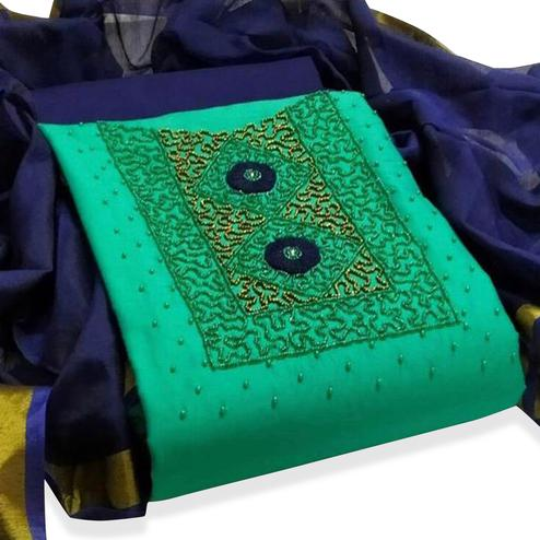 Ideal Turquoise Green Colored Partywear Embroidered Modal Dress Material