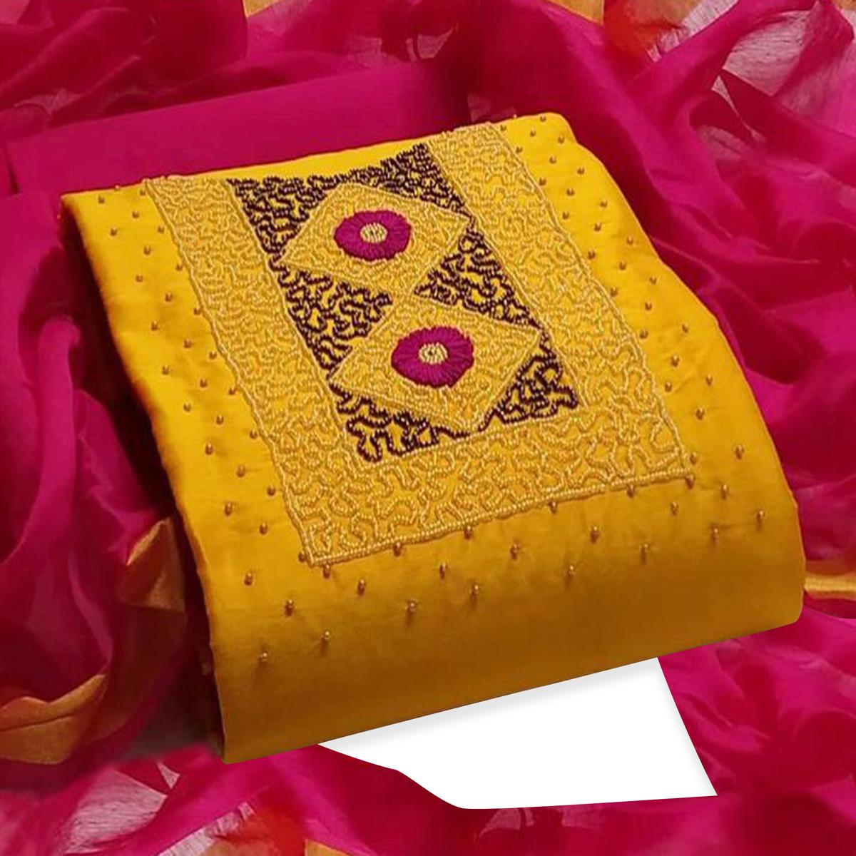 Imposing Yellow Colored Partywear Embroidered Modal Dress Material