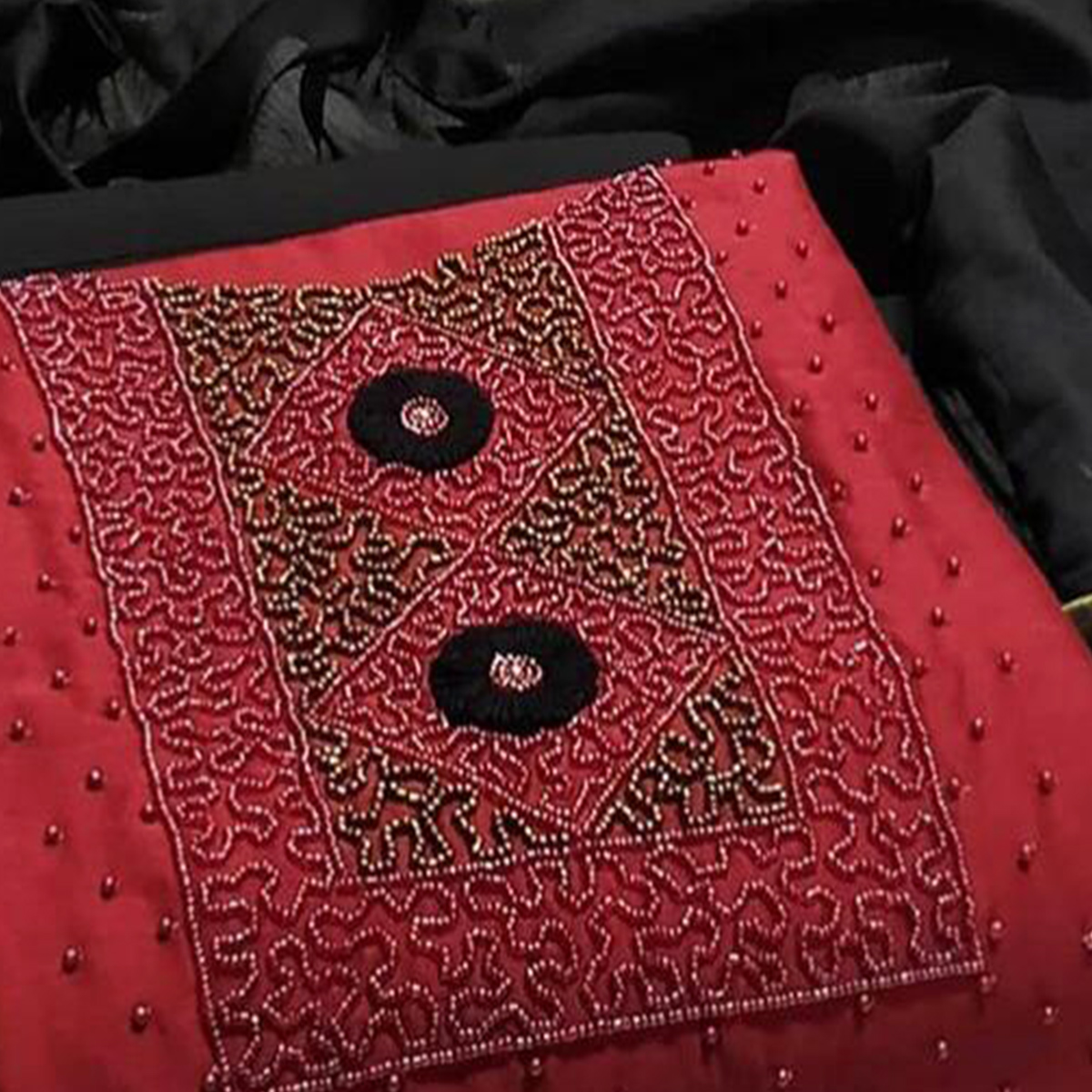 Lovely Maroon Colored Partywear Embroidered Modal Dress Material