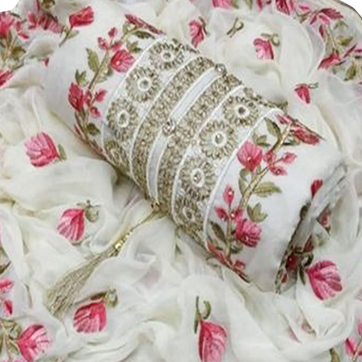 Appealing White-Pink Colored Partywear Floral Embroidered Modal Dress Material