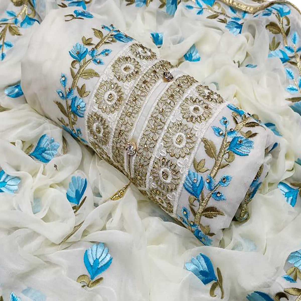 Entrancing White-Blue Colored Partywear Floral Embroidered Modal Dress Material