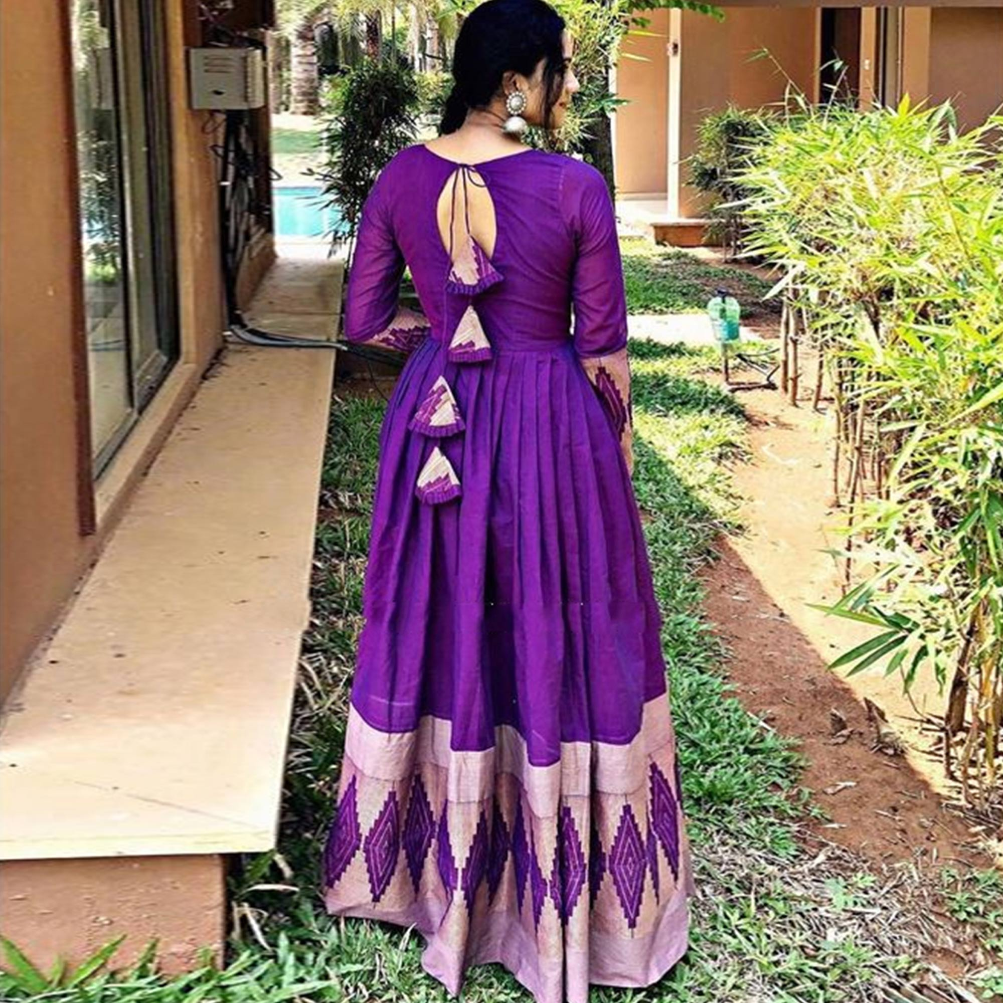 Preferable Purple Colored Partywear Printed Rayon Gown